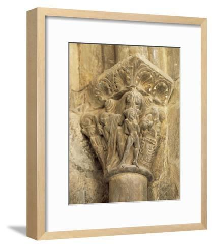 The Binding of Isaac, Capital, Cathedral of Jaca, 12th Century, Spain--Framed Art Print