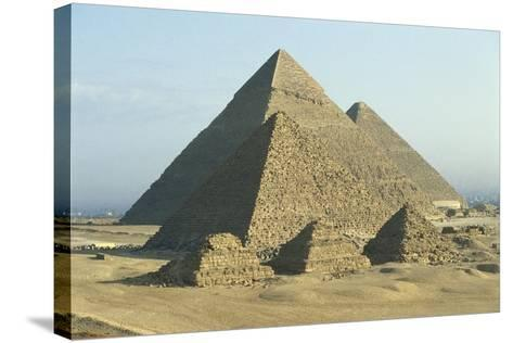 Egypt, Cairo, Ancient Memphis, Pyramids at Giza--Stretched Canvas Print