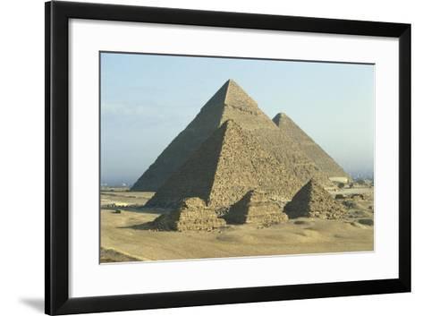 Egypt, Cairo, Ancient Memphis, Pyramids at Giza--Framed Art Print