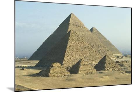 Egypt, Cairo, Ancient Memphis, Pyramids at Giza--Mounted Giclee Print