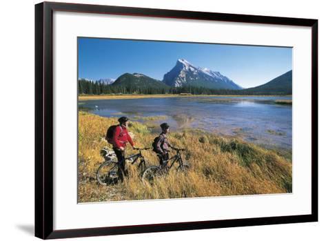 Canada, Alberta, Banff National Park, Vermilion Lake, Tourists with Bikes--Framed Art Print