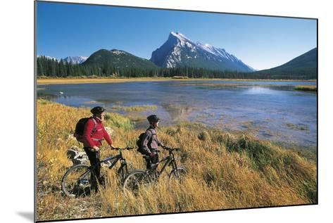 Canada, Alberta, Banff National Park, Vermilion Lake, Tourists with Bikes--Mounted Giclee Print