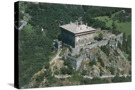 Italy, Aosta Valley, Castle of Verres, Aerial View--Stretched Canvas Print