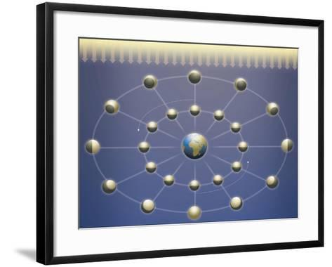 Lunar Phases Diagram--Framed Art Print