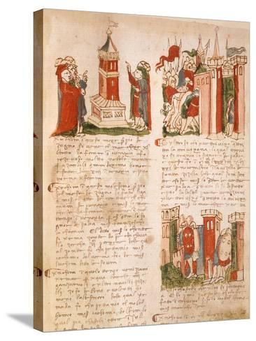 Illuminated Page from the Chronicles of Venice, Manuscript, Italy 15th Century--Stretched Canvas Print