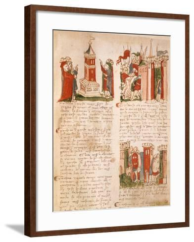 Illuminated Page from the Chronicles of Venice, Manuscript, Italy 15th Century--Framed Art Print