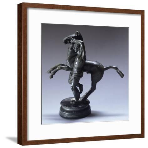Bronze Statuette Representing a Horseman--Framed Art Print