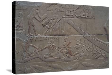 Egypt, Memphis, Saqquara Necropolis, Mastaba of Kagemni, Painted Relief--Stretched Canvas Print