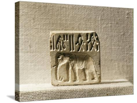 Steatite Seal Depicting an Elephant, Late Mohenjo-Daro Period--Stretched Canvas Print