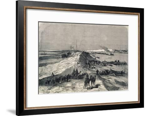 The Suez Canal Near Al Kantara, Syrian Caravans Waiting to Be Ferried Across, Egypt--Framed Art Print