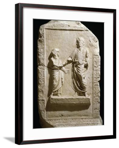 Bas-Relief on Side of Marble Base Dedicated to Providence of Trajan by Senate of Terracina--Framed Art Print