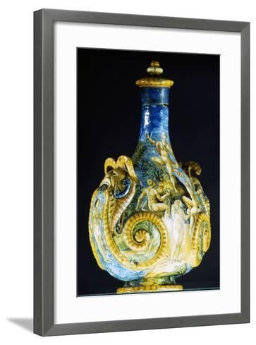 Large Flask Decorated with Mythological Figures, Ceramic--Framed Art Print