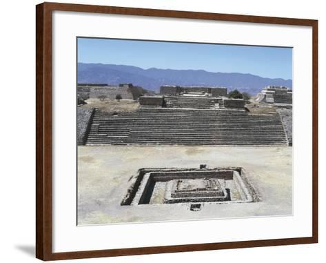 Mexico, Oaxaca State, Building H in Gran Plaza at Monte Alban Archaeological Site--Framed Art Print