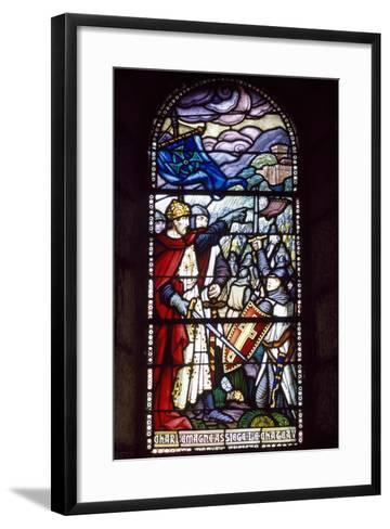 Charlemagne Laying Siege to Castle, Stained-Glass Window from Chateau-Fort De Lourdes Chapel--Framed Art Print