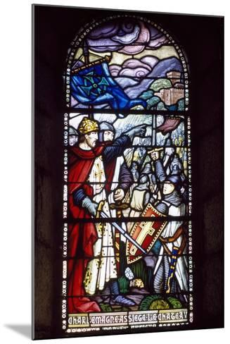 Charlemagne Laying Siege to Castle, Stained-Glass Window from Chateau-Fort De Lourdes Chapel--Mounted Giclee Print