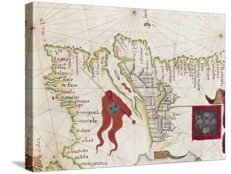 Lisbon and Tagus River Estuary from Atlas by Diego Homen, 1563--Stretched Canvas Print