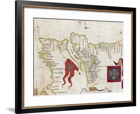 Lisbon and Tagus River Estuary from Atlas by Diego Homen, 1563--Framed Art Print