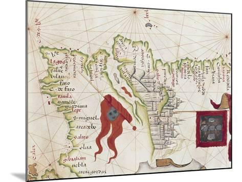 Lisbon and Tagus River Estuary from Atlas by Diego Homen, 1563--Mounted Giclee Print