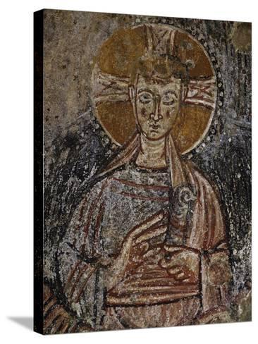 Jesus Christ, 11th Century Fresco, Cave of Saints, Calvi, Campania, Italy--Stretched Canvas Print