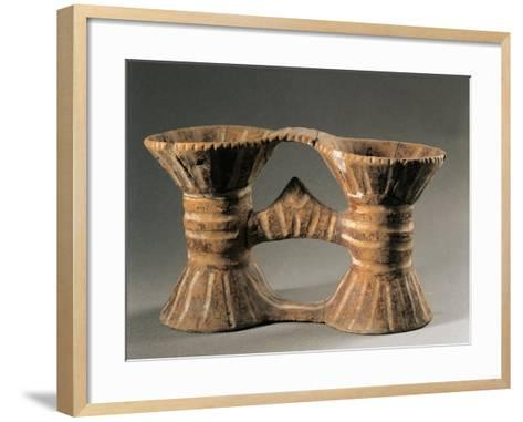 Romania, Bucharest, Muzeul National De Istorie Al Romaniei, Painted Double Vase from Draguseni--Framed Art Print