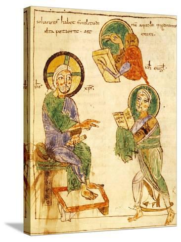 Saint John the Evangelist, Miniature from a Gospels, Latin Manuscript, 8th Century--Stretched Canvas Print