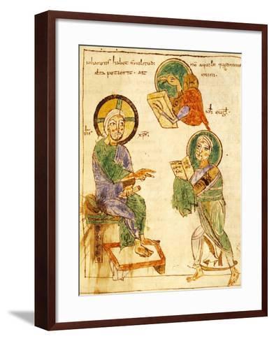 Saint John the Evangelist, Miniature from a Gospels, Latin Manuscript, 8th Century--Framed Art Print