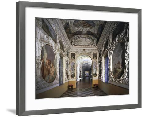 Glimpse of Hall and Poets' Gallery, Rocca Meli-Lupi of Soragna, Near Parma, Emilia-Romagna, Italy--Framed Art Print