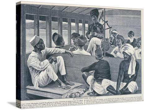 India, Sikh Playing Scottish Bagpipes in Third-Class Train Carriage from Journal Des Voyages, 1909--Stretched Canvas Print