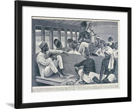 India, Sikh Playing Scottish Bagpipes in Third-Class Train Carriage from Journal Des Voyages, 1909--Framed Art Print