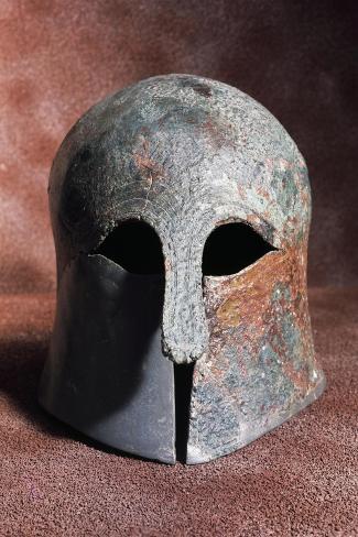 Apulian-Corinthian Bronze Helmet from Serra Lustrante, Armento, Basilicata, Italy--Stretched Canvas Print