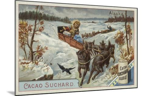 Travelling by Dog Sled, Alaska--Mounted Giclee Print
