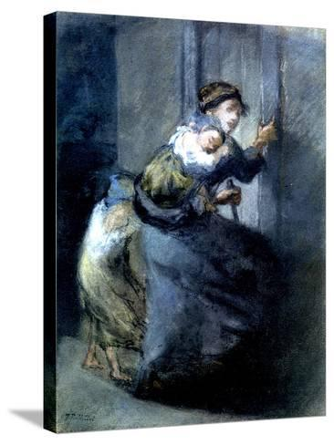 A Mother Fleeing with Two Children-Jean-Fran?ois Millet-Stretched Canvas Print