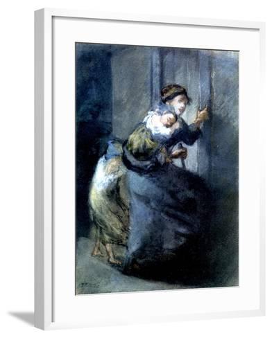 A Mother Fleeing with Two Children-Jean-Fran?ois Millet-Framed Art Print