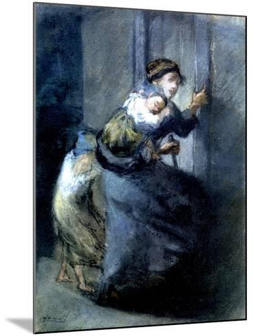 A Mother Fleeing with Two Children-Jean-Fran?ois Millet-Mounted Giclee Print