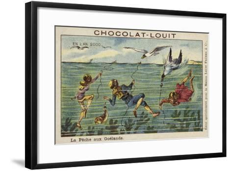 Fishing for Seagulls in the Year 2000--Framed Art Print