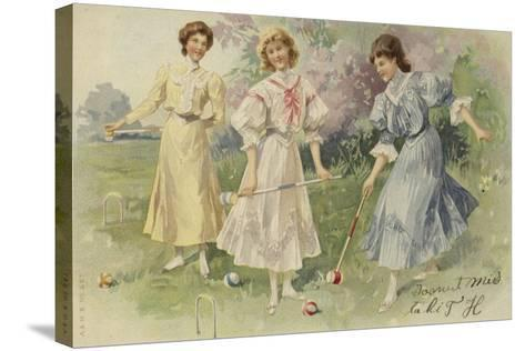 Girls Playing Croquet--Stretched Canvas Print