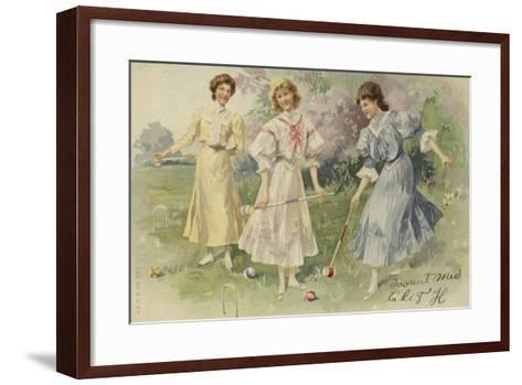 Girls Playing Croquet--Framed Art Print