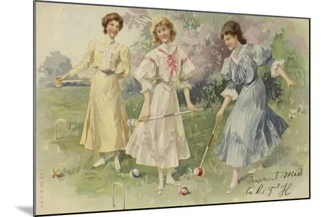 Girls Playing Croquet--Mounted Giclee Print
