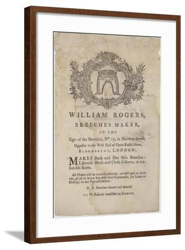 Breeches Makers, William Rogers, Trade Card--Framed Art Print