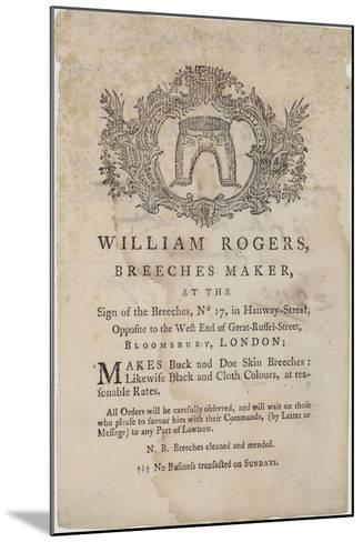 Breeches Makers, William Rogers, Trade Card--Mounted Giclee Print