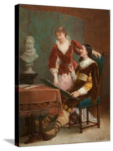 The Artist's Critic-Louis Claude Mouchot-Stretched Canvas Print
