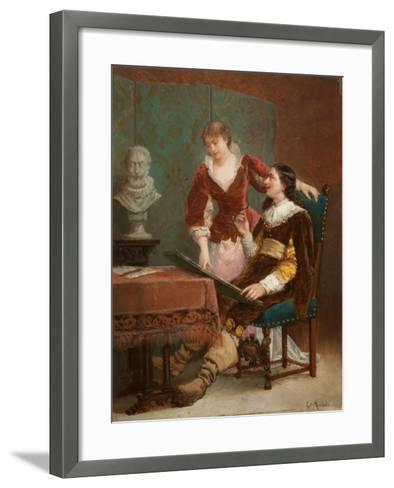 The Artist's Critic-Louis Claude Mouchot-Framed Art Print