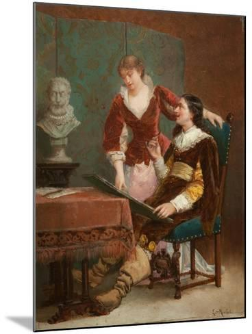 The Artist's Critic-Louis Claude Mouchot-Mounted Giclee Print