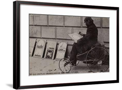 An Old Crippled Soldier Making Woolwork Pictures--Framed Art Print