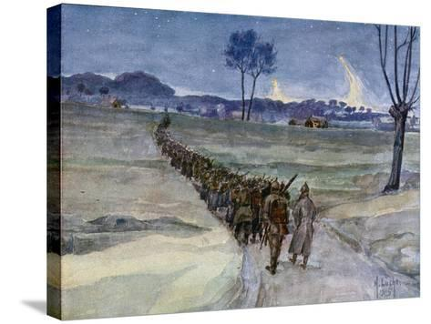 Replacements Arriving for the Trenches, Ypres--Stretched Canvas Print