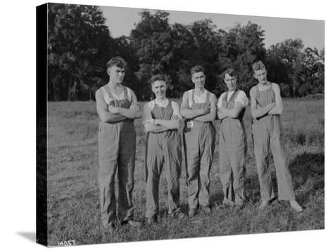 Winning Push Ball Team at a Company Picnic, 1919--Stretched Canvas Print