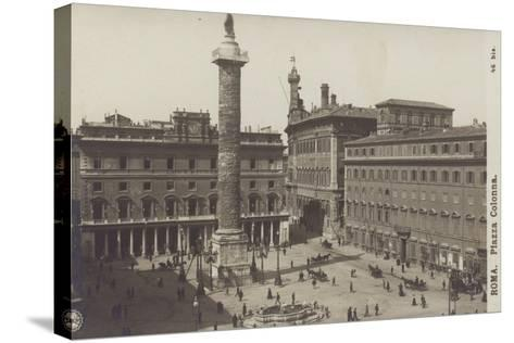 Postcard Depicting the Piazza Colonna--Stretched Canvas Print