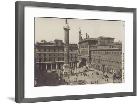 Postcard Depicting the Piazza Colonna--Framed Art Print