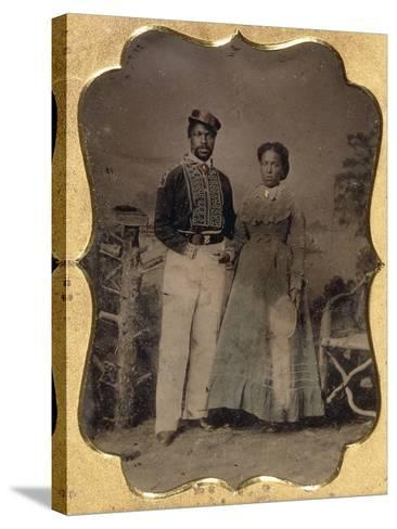 Fireman and Bride, C.1860--Stretched Canvas Print