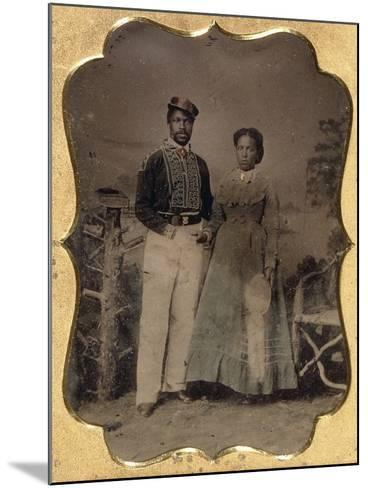 Fireman and Bride, C.1860--Mounted Photographic Print
